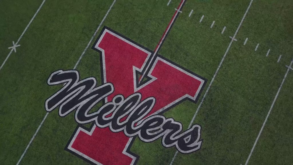 yukon millers logo on football field