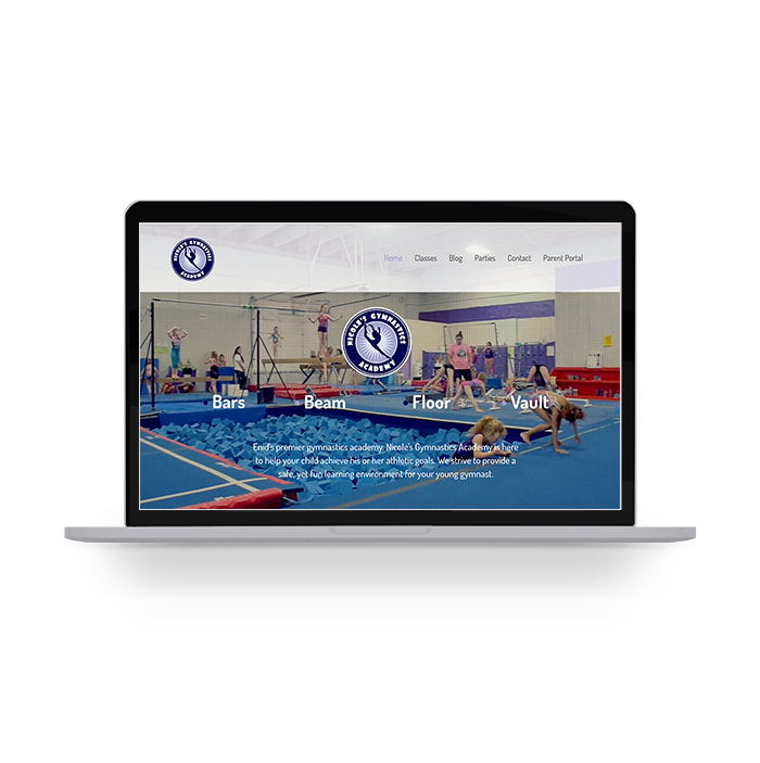 nicole's gymnastics academy website mockup on a laptop