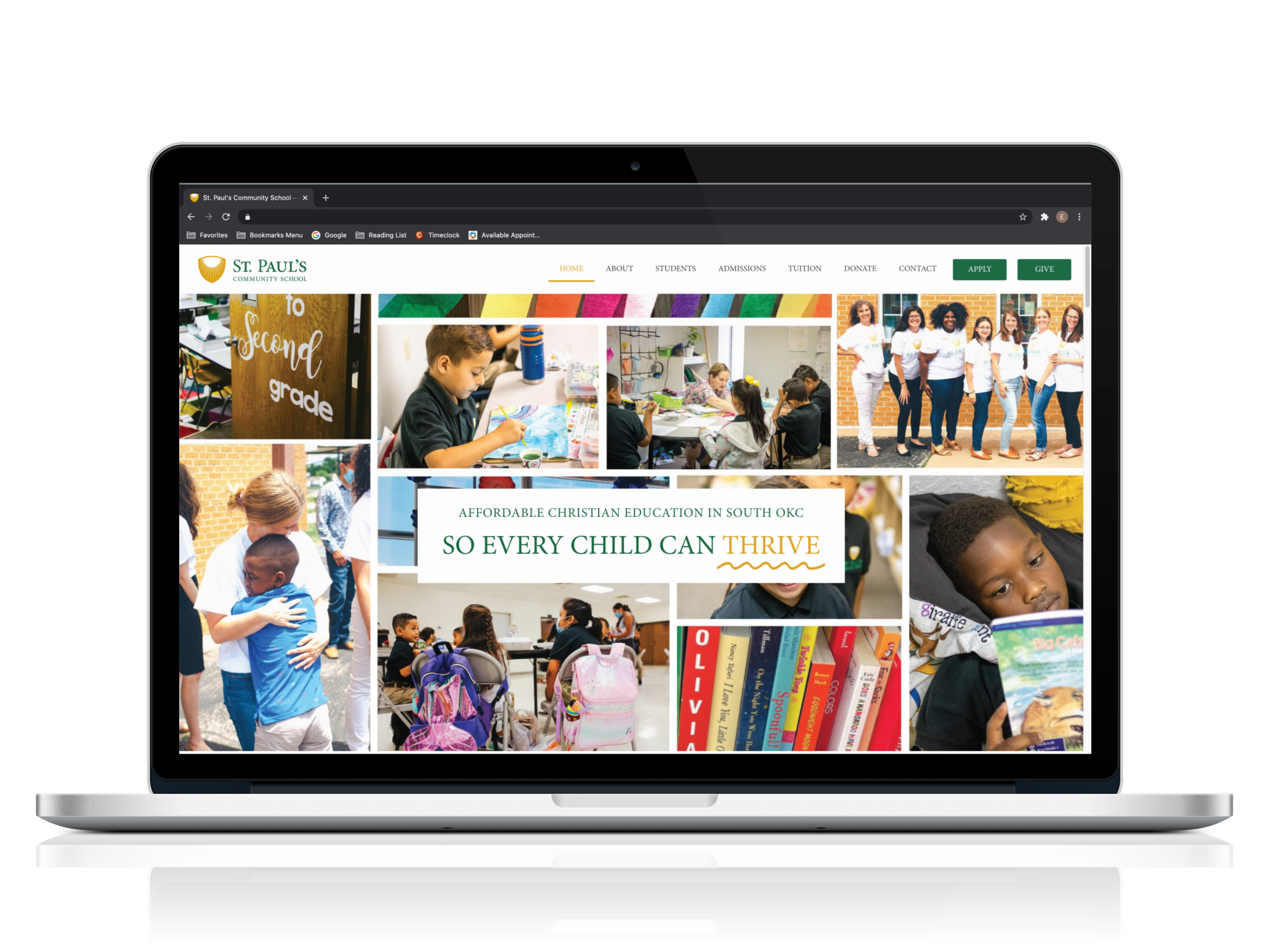 St. Paul's Community School website on computer