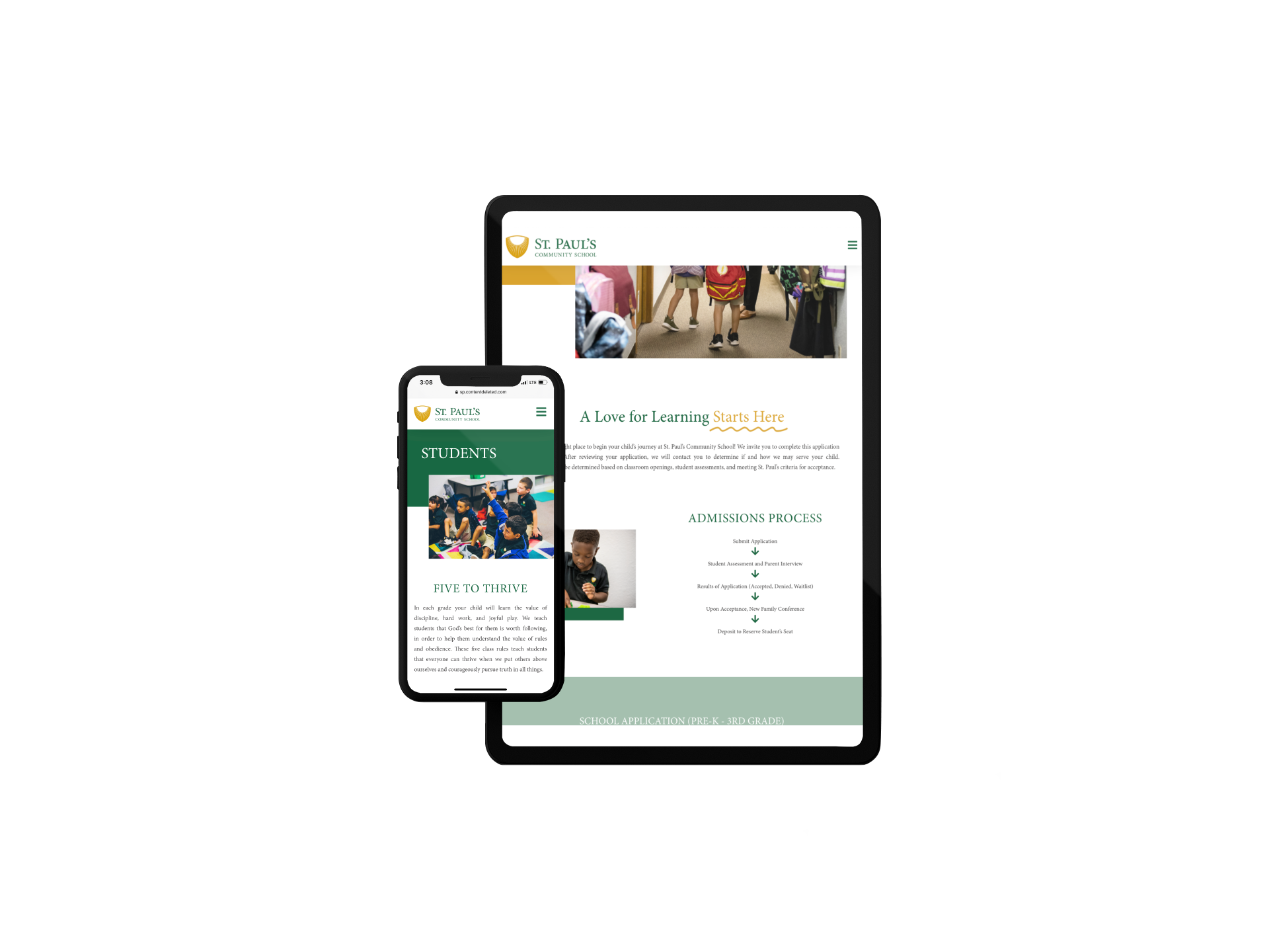 St. Paul's Community School Website on tablet and phone