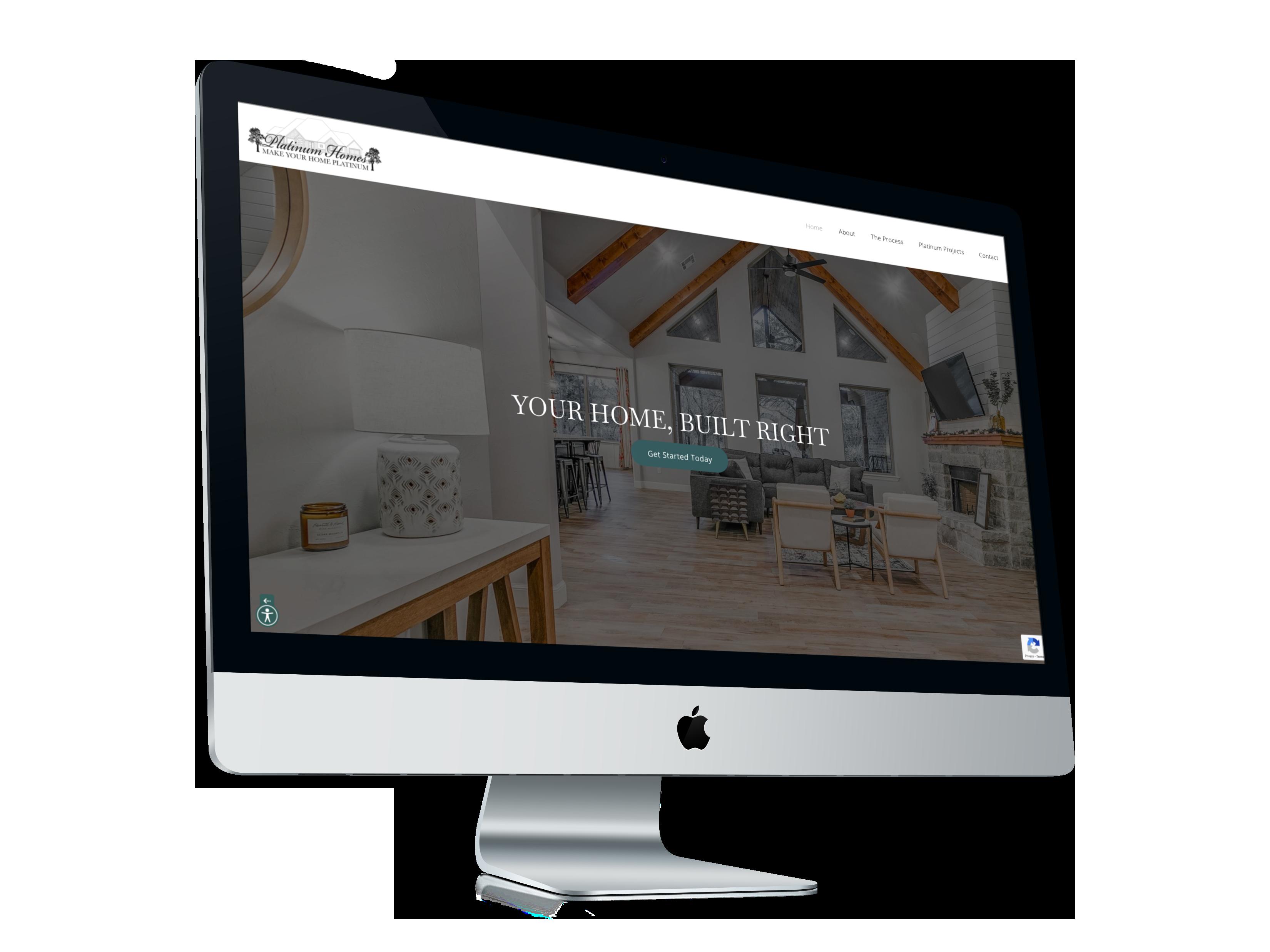 platinum homes homepage on computer