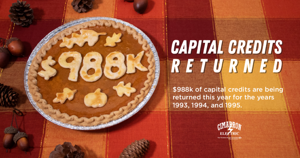 Capital Credits Returned! $988k of capital credits are being returned this year for the years 1993, 1994, and 1995.
