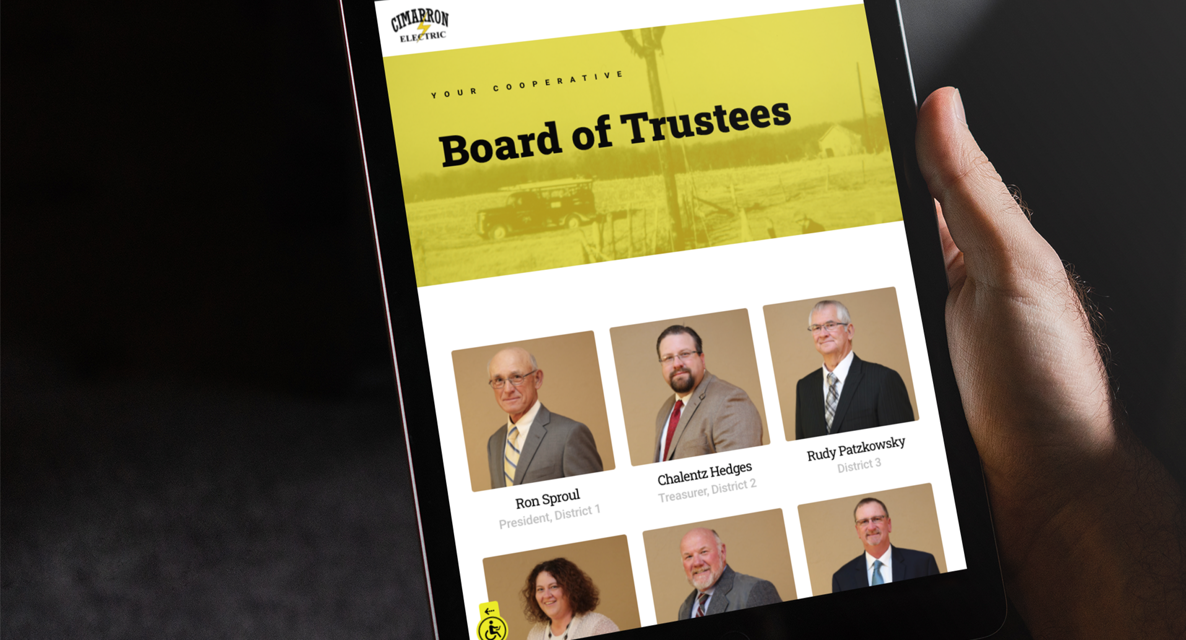 Board of Trustees page on the Cimarron site on an ipad