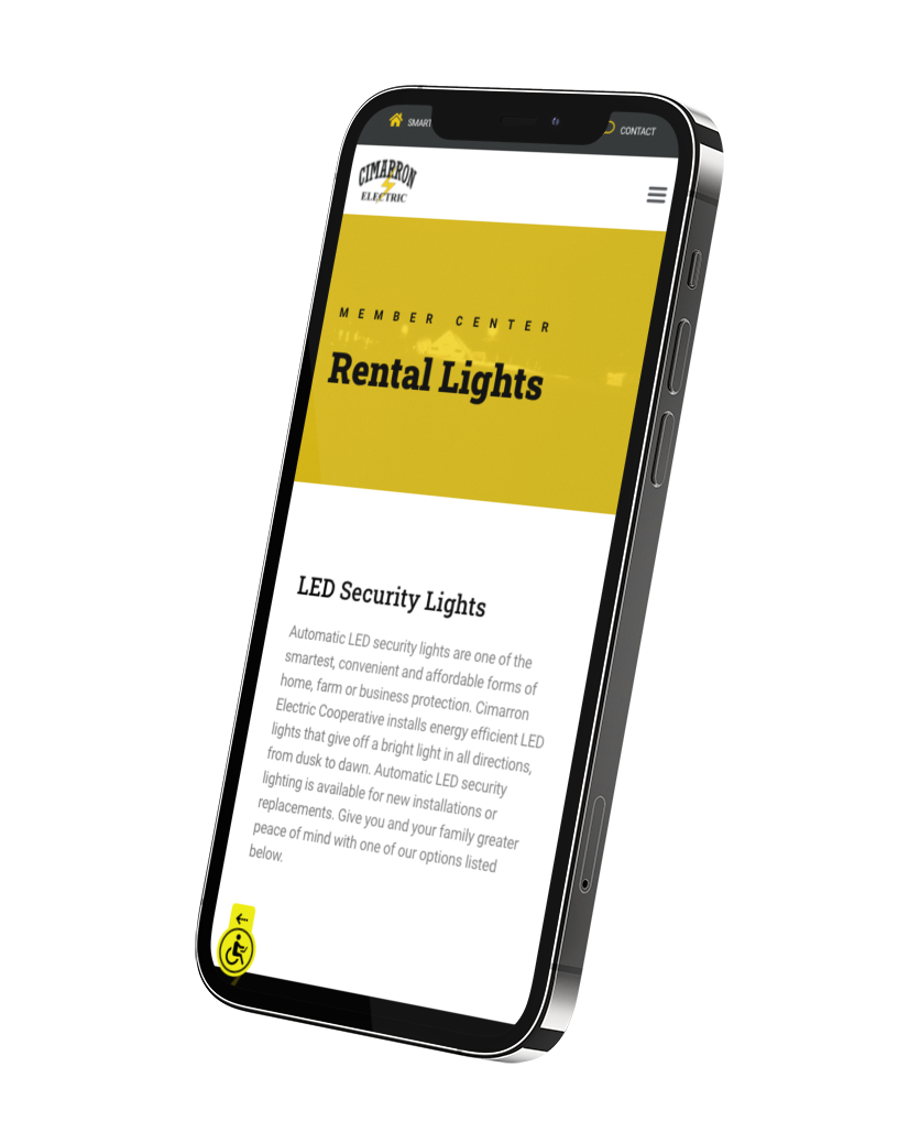 Rental lights page as seen on a phone