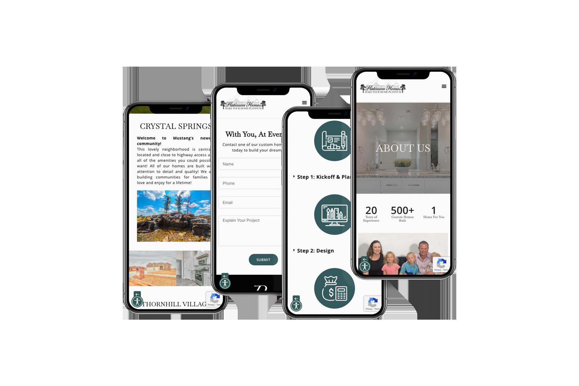 platinum homes website on a phone