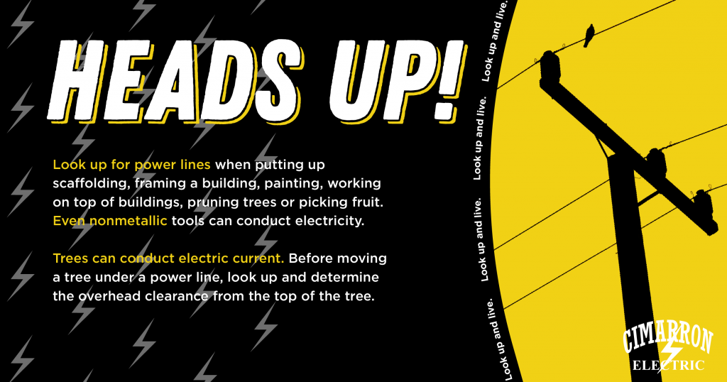 Head's Up! Look up for power lines when putting up scaffolding, framing a building, painting, working on top of buildings, pruning trees or picking fruit. Even nonmetallic tools can conduct electricity. Trees can conduct electric current. Before moving a tree under a power line, look up and determine the overhead clearance from the top of the tree.