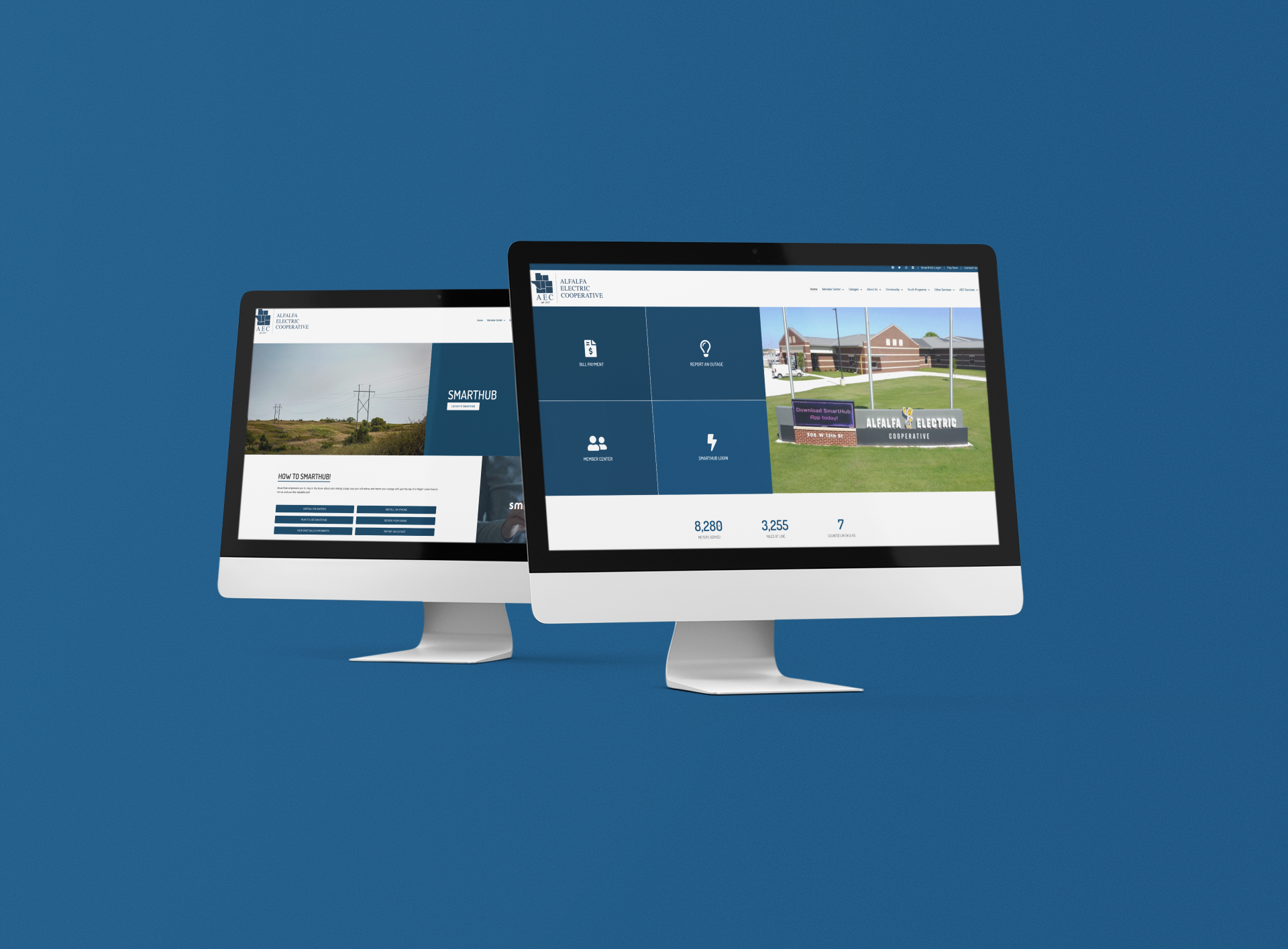 Alfalfa Electric Cooperative Website on two computer screens